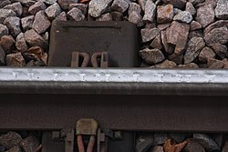 Rail wear at Heaton Park Metrolink station (33619631362).jpg