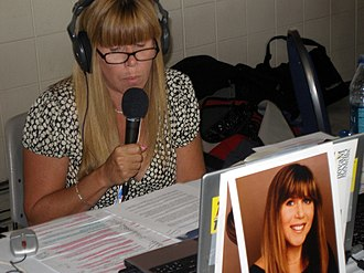 Randi Rhodes - Randi Rhodes broadcasts from the Democratic National Convention in 2008.