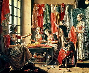 Musée Réattu - The Couturiers workshop, a 1780s painting by Antoine Raspal in Musée Réattu