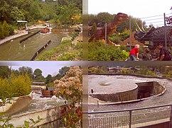 """verschiedene Ansichten des Fahrgeschäfts, unten rechts der """"Whirlpool"""""""