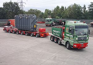 Drawbar (haulage) - A large ballast tractor pulling a load using a drawbar