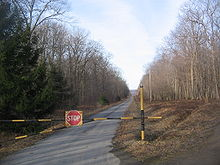 A gate made out of metal pipe with a STOP sign blocks a narrow blacktop road, which stretches off in a straight line into the distance between trees.