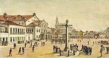 Teatro Real de São João in Rio de Janeiro, erbaut 1813 nach dem Ebenbild des Teatro Nacional de São Carlos in Lissabon. Gemälde von Jean Baptiste Debret (Quelle: Wikimedia)