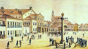 José da Costa e Silva - Painting of central Rio de Janeiro (1835) by Debret. The building with a Neoclassical facade and porch that occupies the left of the square is the Royal Theatre of St John, designed by Costa e Silva.