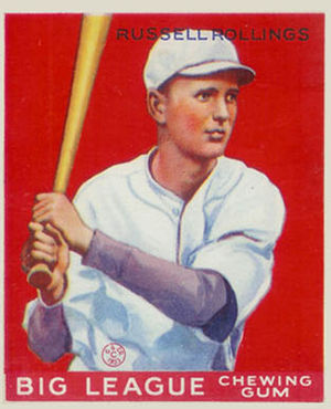 Red Rollings - Red Rollings' 1933 Goudey baseball card, while a member of the Atlanta Crackers