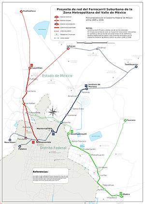 Suburban Railway of the Valley of Mexico Metropolitan Area - Map of the current rail system and proposed two new rail systems
