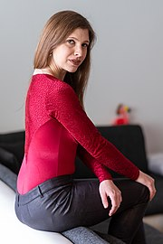 Red evening bodysuit with integrated bra - Backside - modeled by Marina Daschner.jpg