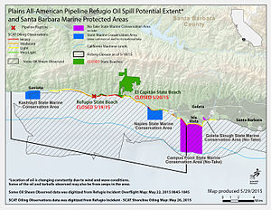 Refugio oil spill - May 29 County spill map.
