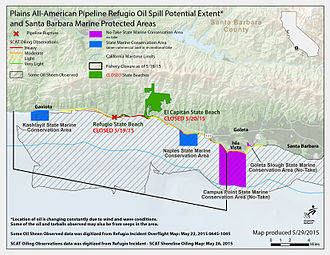 Refugio oil spill - May 29 County spill map
