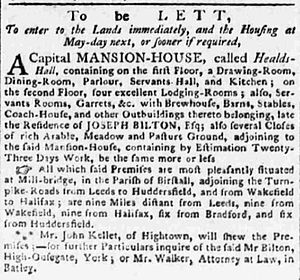 Healds Hall - Rental notice for Healds Hall in 1791