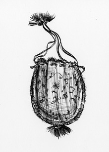 """A pen and ink drawing of a reticule"""