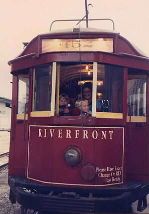Riverfront Streetcar Line - Riverfront Streetcar in 1988, the line's first year of operation.