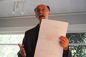 """Robert Meeropol - Robert Meeropol (2009) holding copy of Government Exhibit 8 from the Rosenberg trial, the cross-sectional drawing of an atomic bomb, which was said to be the """"secret of the atomic bomb"""" the Rosenbergs had passed to the Soviet Union."""