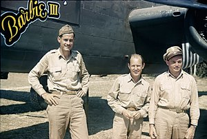 """Robert T. Smith - 1st Air Commando Group Bomber Section Commander R.T. Smith and Co-commanders John Alison and Phil Cochran in front of R.T. Smith's B-25H """"Barbie III"""" at Hailkandi, India in March 1944"""