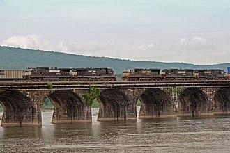 Rockville Bridge - Two Norfolk Southern freight trains meet on the Rockville Bridge