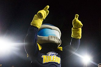 Toledo Rockets - The current Rocky the Rocket at Scheumann Stadium against the Ball State Cardinals (photo by Grace Hollars).