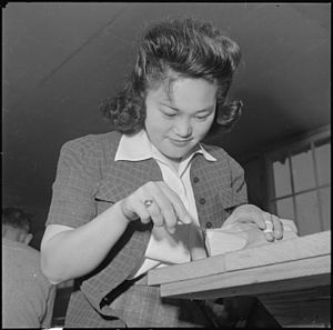 Rohwer War Relocation Center - A young woman in the woodworking class
