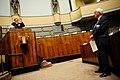 Rolf Reikvam (SV) i talarstolen och Kent Olsson (M) under Nordiska radets session i Helsingfors 2008-10-29.jpg