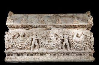 Docimium - Asiatic garland sarcophagus, the predominant type during the reigns of Trajan and Hadrian (Walters Art Museum), dated between 150 and 180, in Dokimeion marble, so probably made in Phrygia and then shipped to Rome. The gable-roof lid exemplifies the garland tradition common on ash altars and chests. It also has several incomplete parts on its four sides, suggesting the work was interrupted or it was needed on short notice.