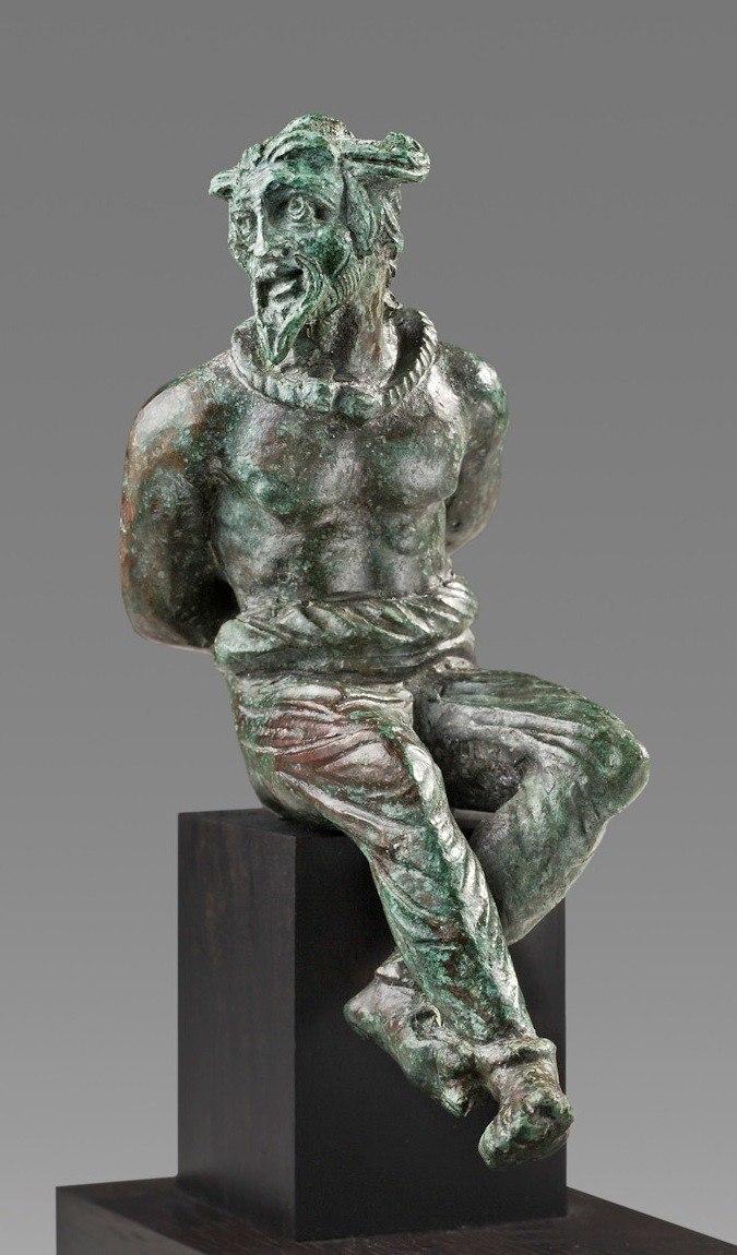 Roman Bronze Statuette of a Captive Gaul, 2nd Century AD