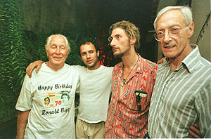 Ronnie Biggs - Biggs's 70th birthday, 1999 (from left): Biggs, his son Michael, Nick Reynolds, and Nick's father Bruce, the robbery mastermind