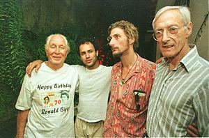Bruce Reynolds - Reynolds (far right) at Ronnie Biggs' (far left) 70th birthday with their sons
