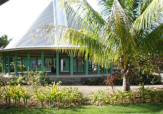 Samoa 'ava ceremony - A round open fale tele meeting house in Avao village. Architecture of Samoa define seating areas for the 'Ava ceremony.