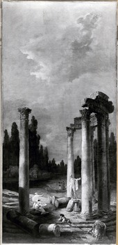 Ruins of a Circular Temple with Apollo di Belvedere (Hubert Robert) - Nationalmuseum - 21560.tif