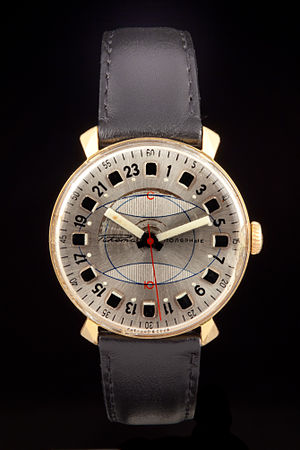 24-hour clock - A Russian 24 hour watch for polar expeditions from 1969, made by Soviet watchmaker Raketa. Polar nights or days make it necessary to use a 24-hour scale instead of 12.