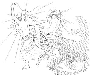 Sól (sun) - A depiction of Sól, her daughter, and the wolf Fenrir (1895) by Lorenz Frølich.
