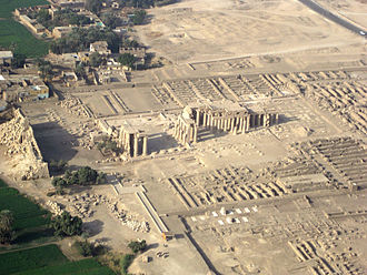 Ramesseum - Aerial view of Thebes' Ramesseum, showing pylons and secondary buildings