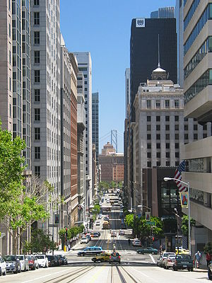 Financial District, San Francisco - The Financial District, looking east down California Street.