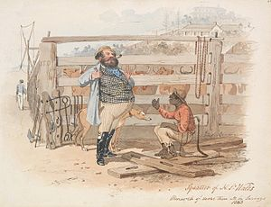 Squatting (pastoral) - Colonial artist S. T. Gill supports Aboriginal land rights and condemns the Squattocracy in Squatter of N. S. Wales: Monarch of all he Surveys, 1788 (above) and Squatter of N. S. Wales: Monarch of more than all he Surveys, 1863 (below).
