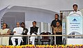 Sachin Pilot addressing at the foundation stone laying ceremony for the development of the Kishangarh Airport, in Ajmer, Rajasthan. The Prime Minister, Dr. Manmohan Singh, the Governor of Rajasthan.jpg