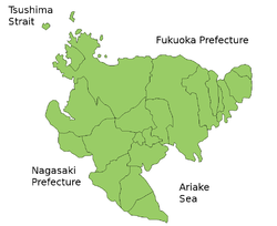 Map of Saga Prefecture showing municipal boundries.