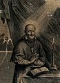Saint Francis of Sales praying behind an altar. Etching, Wellcome V0032006.jpg