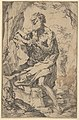 Saint Jerome kneeling on a rock in front of a cross and an open book facing left MET DP837836.jpg