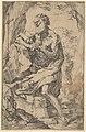 Saint Jerome kneeling on a rock in front of a cross and an open book facing left MET DP837836.jpg