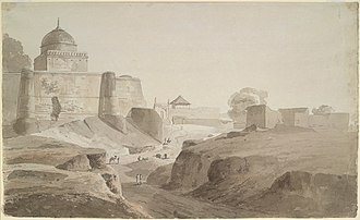 Islam in India - Pencil and wash drawing of a mosque at Sambhal in Uttar Pradesh by Thomas (1749–1840) and William (1769–1837) Daniell, 24 March 1789