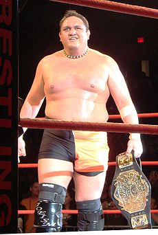 An adult Samoan male wearing orange and black tights with black wrestling boots standing in a wrestling ring with red ropes while holding a black belted championship belt.