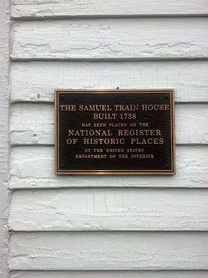 Samuel Train House - Plaque on the Samuel Train house, Weston MA
