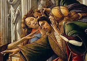 Calumny of Apelles (Botticelli) - Ignorance, the king, Suspicion