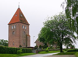 The free standing tower at St. Søren's Church