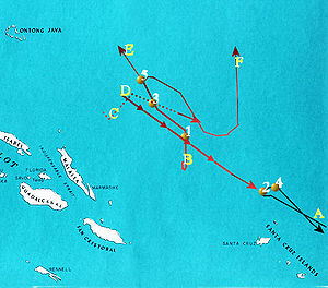Battle of the Santa Cruz Islands - Map of the Battle of the Santa Cruz Islands, 26 October 1942. Red lines are Japanese warship forces and black lines are U.S. carrier forces. Numbered yellow dots represent significant actions in the battle.