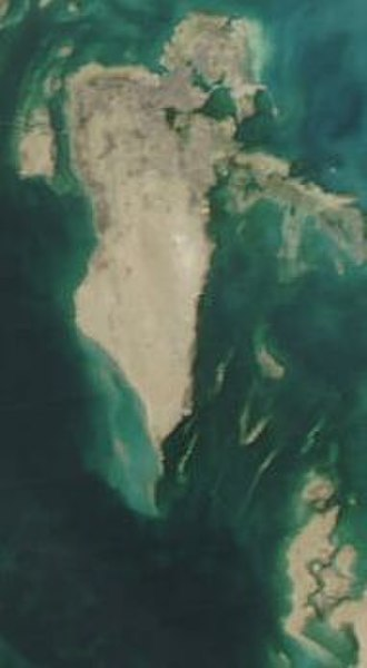 Outline of Bahrain - A satellite image of Bahrain