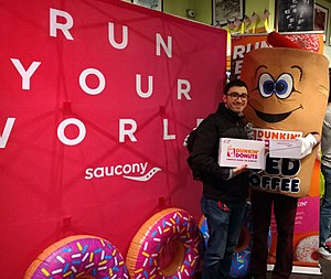 Launch party of the co-branded Saucony X Dunkin' Kinvara 9 running shoe.