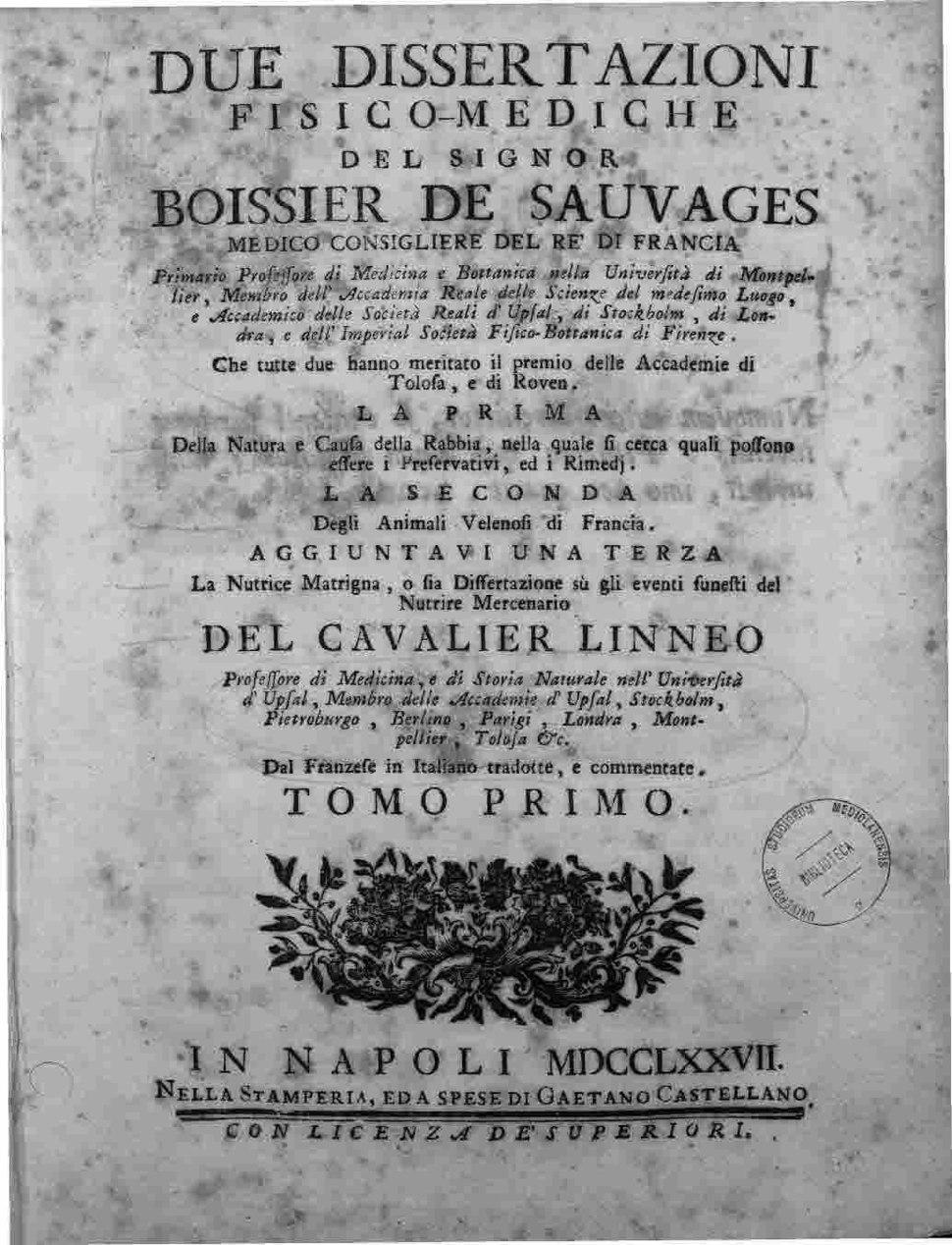 Sauvages de la Croix, François Boissier de – Dissertation sur la nature et la cause de la Rage, 1777 – BEIC 3001126
