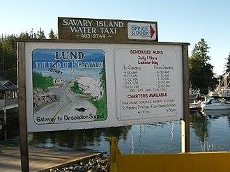 Lund, British Columbia - Image: Savary island water taxi sign
