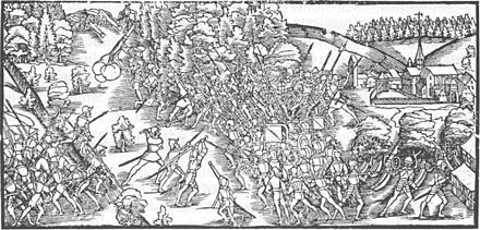 The forces of Zurich are defeated in the Second War of Kappel. Schlacht bei Kappel.jpg