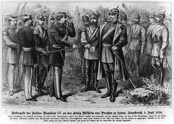 Handover of the emperor Napoleon III.  to King Wilhelm of Prussia in Sedan on September 2, 1870